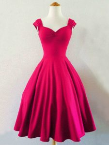 Knee Length A-line Sleeveless Hot Pink Quinceanera Dama Dress Lace Up