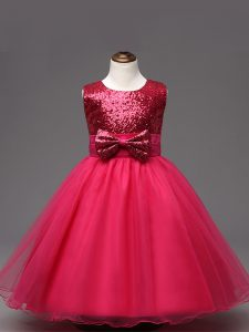 Scoop Sleeveless Kids Pageant Dress Tea Length Sequins and Bowknot Hot Pink Organza