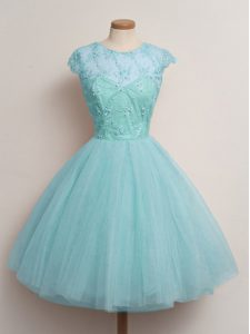 Dramatic Scoop Cap Sleeves Lace Up Quinceanera Dama Dress Aqua Blue Tulle