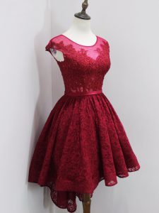 Exquisite Cap Sleeves High Low Beading and Lace Zipper Dama Dress for Quinceanera with Wine Red