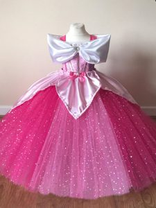 Top Selling Fuchsia Tulle Zipper Little Girl Pageant Dress Short Sleeves Floor Length Sequins