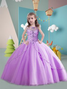 Beading Kids Pageant Dress Lavender Lace Up Sleeveless Brush Train