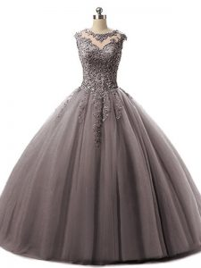 Nice Brown Tulle Lace Up Quinceanera Dress Sleeveless Floor Length Beading and Lace