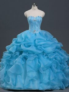 Glamorous Baby Blue Lace Up Sweetheart Beading and Ruffles and Pick Ups Quinceanera Dresses Organza Sleeveless
