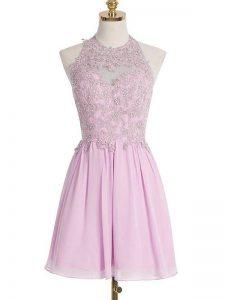 Classical Lilac Chiffon Lace Up Damas Dress Sleeveless Knee Length Appliques