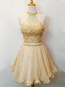 Stunning Champagne Lace Up Halter Top Beading Damas Dress Organza Sleeveless