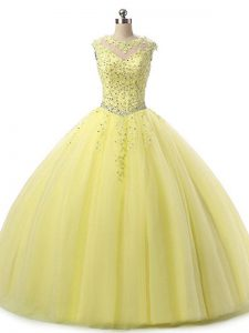 Suitable Yellow Tulle Lace Up Sweet 16 Dresses Sleeveless Floor Length Beading and Lace
