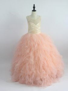 Peach Ball Gowns Scoop Sleeveless Tulle Floor Length Zipper Appliques and Ruffles Kids Formal Wear