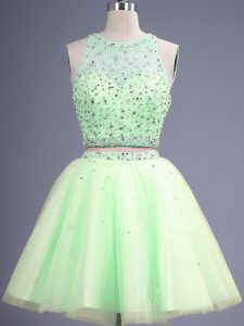 Sleeveless Knee Length Beading Lace Up Dama Dress for Quinceanera with Yellow Green