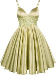Olive Green A-line Spaghetti Straps Sleeveless Elastic Woven Satin Knee Length Lace Up Lace Dama Dress