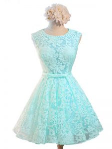 Fabulous Aqua Blue Sleeveless Lace Lace Up Quinceanera Court of Honor Dress for Prom and Party and Wedding Party