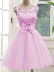 Perfect A-line Vestidos de Damas Lilac Scoop Tulle Sleeveless Knee Length Lace Up