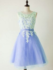 Sexy Light Blue Sleeveless Knee Length Lace Lace Up Quinceanera Court of Honor Dress