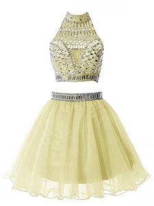 High-neck Sleeveless Zipper Damas Dress Yellow Organza