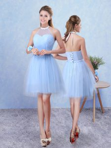 A-line Quinceanera Court of Honor Dress Blue Halter Top Tulle Sleeveless Knee Length Lace Up