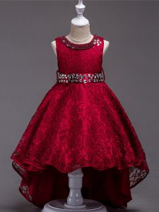 Popular Wine Red Lace Up Scoop Beading Child Pageant Dress Lace Sleeveless