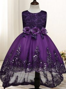 Elegant Scoop Sleeveless Zipper Girls Pageant Dresses Dark Purple Tulle