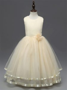 High Quality Sleeveless Tulle Floor Length Zipper Little Girls Pageant Gowns in Champagne with Hand Made Flower