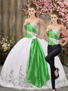 White Organza Lace Up Sweetheart Sleeveless Floor Length Quinceanera Dress Embroidery and Belt