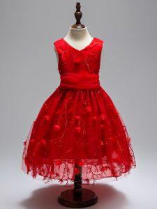 Wine Red V-neck Zipper Appliques Little Girl Pageant Dress Sleeveless