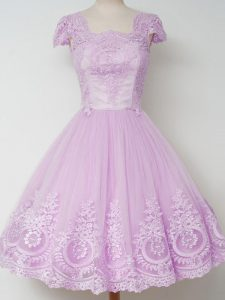 Square Cap Sleeves Quinceanera Court Dresses Knee Length Lace Lilac Tulle