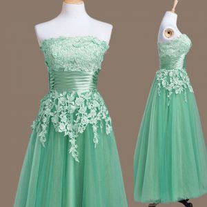 Tulle Strapless Sleeveless Lace Up Appliques Court Dresses for Sweet 16 in Turquoise