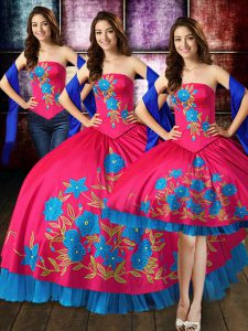 Hot Pink Quinceanera Dress Military Ball and Sweet 16 and Quinceanera with Embroidery Strapless Sleeveless Lace Up