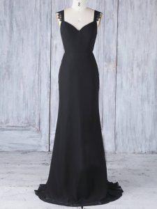 Black Chiffon Zipper Damas Dress Sleeveless Sweep Train Appliques