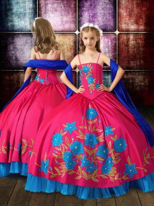 Wonderful Hot Pink Ball Gowns Spaghetti Straps Sleeveless Taffeta Floor Length Lace Up Embroidery Girls Pageant Dresses