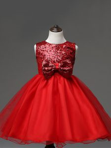 Custom Fit Sequins and Bowknot Little Girl Pageant Dress Red Zipper Sleeveless Tea Length