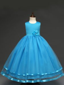 Lovely Baby Blue Tulle Zipper Scoop Sleeveless Floor Length Little Girls Pageant Gowns Hand Made Flower
