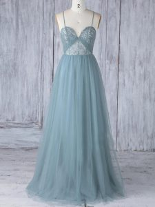 Tulle Spaghetti Straps Sleeveless Criss Cross Appliques Court Dresses for Sweet 16 in Grey