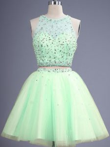 Wonderful Tulle Scoop Sleeveless Lace Up Beading Dama Dress for Quinceanera in Yellow Green
