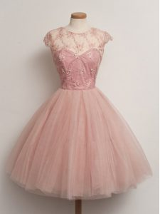 Best Peach Ball Gowns Lace Quinceanera Dama Dress Lace Up Tulle Cap Sleeves Knee Length