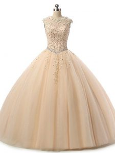 Perfect Floor Length Champagne 15 Quinceanera Dress Tulle Sleeveless Beading and Lace