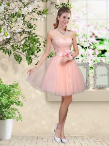 Peach Sweetheart Neckline Lace and Belt Quinceanera Dama Dress Sleeveless Lace Up