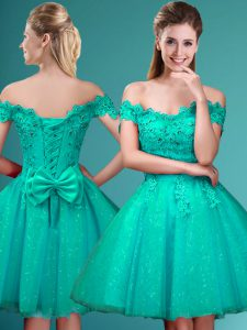 Discount Cap Sleeves Tulle Knee Length Lace Up Dama Dress for Quinceanera in Turquoise with Lace and Belt
