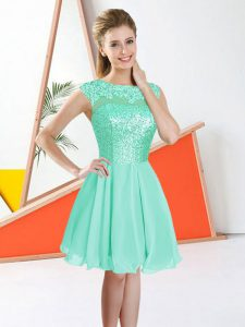 Bateau Sleeveless Quinceanera Court of Honor Dress Knee Length Beading and Lace Turquoise Chiffon