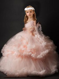 Pink Ball Gowns V-neck Sleeveless Tulle Brush Train Criss Cross Hand Made Flower Little Girl Pageant Dress