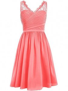 Knee Length Watermelon Red Dama Dress for Quinceanera V-neck Sleeveless Side Zipper