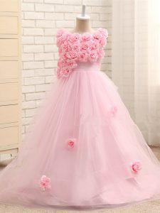 Customized Scoop Sleeveless Tulle Girls Pageant Dresses Hand Made Flower Brush Train Zipper