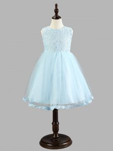 Knee Length Light Blue Little Girls Pageant Dress Wholesale Tulle Sleeveless Lace and Bowknot