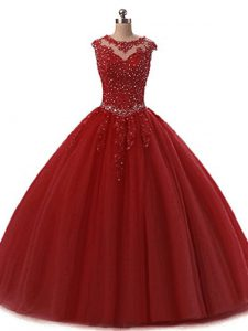 On Sale Wine Red Tulle Lace Up Scoop Sleeveless Floor Length Sweet 16 Dresses Beading and Lace