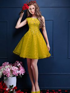 Attractive Yellow Bateau Lace Up Beading and Lace Dama Dress for Quinceanera Sleeveless