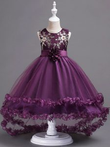 Enchanting Dark Purple Scoop Neckline Appliques and Hand Made Flower Little Girls Pageant Dress Sleeveless Zipper