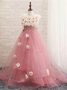 Unique Pink Little Girls Pageant Dress Scoop Sleeveless Brush Train Zipper