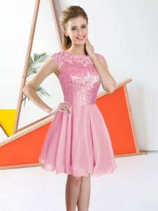 Pink Chiffon Backless Quinceanera Court Dresses Sleeveless Knee Length Beading and Lace
