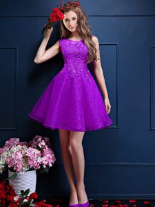 Eggplant Purple A-line Tulle Bateau Sleeveless Beading and Lace Knee Length Lace Up Quinceanera Court Dresses