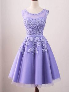 Scoop Sleeveless Lace Up Quinceanera Court of Honor Dress Lavender Tulle