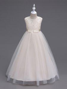 Sleeveless Zipper Floor Length Lace Little Girl Pageant Gowns